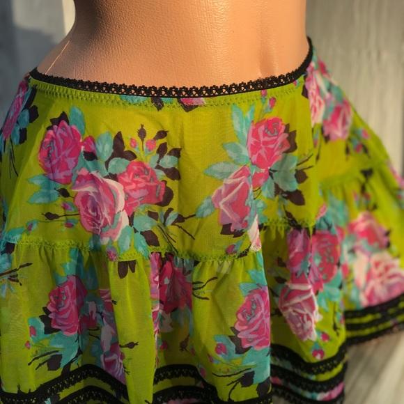 Betsey Johnson Other - Betsey Johnson rose green pink cabaret pinup skirt